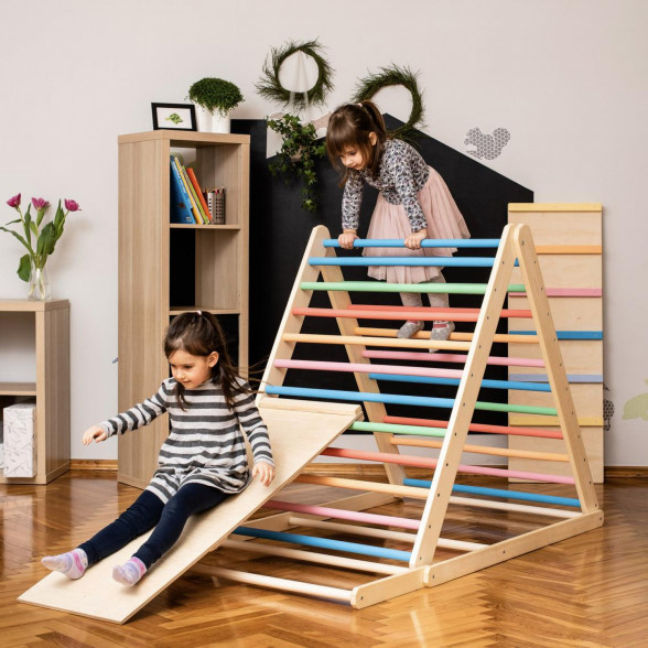 Children playing on a triangle climber toy with a slide
