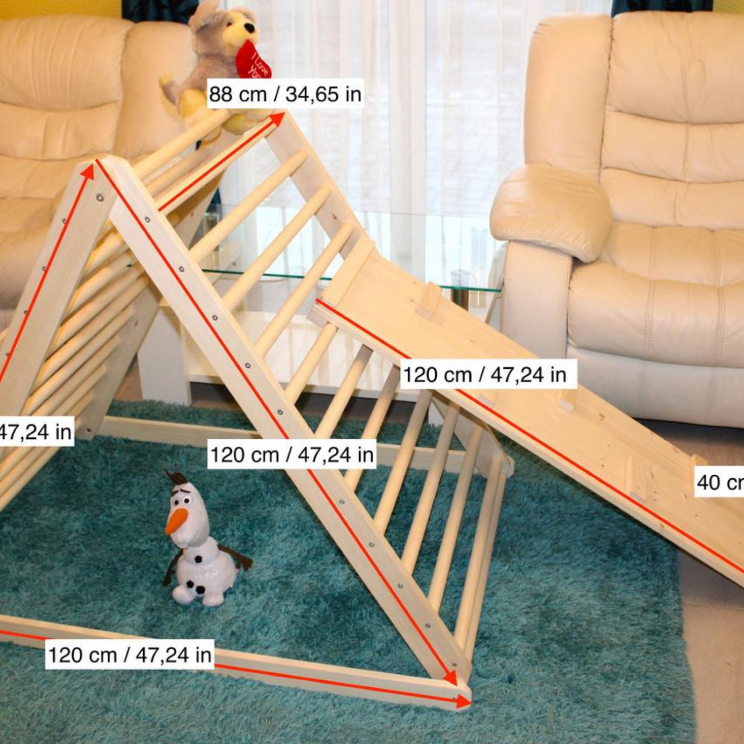 Dimensions of a triangle climber toy