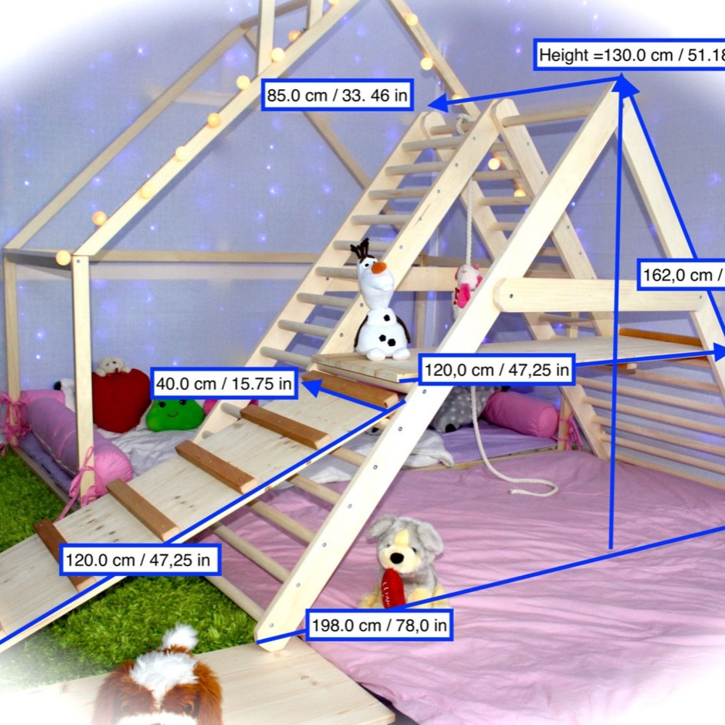Dimensions of a climbing ladder for toddlers