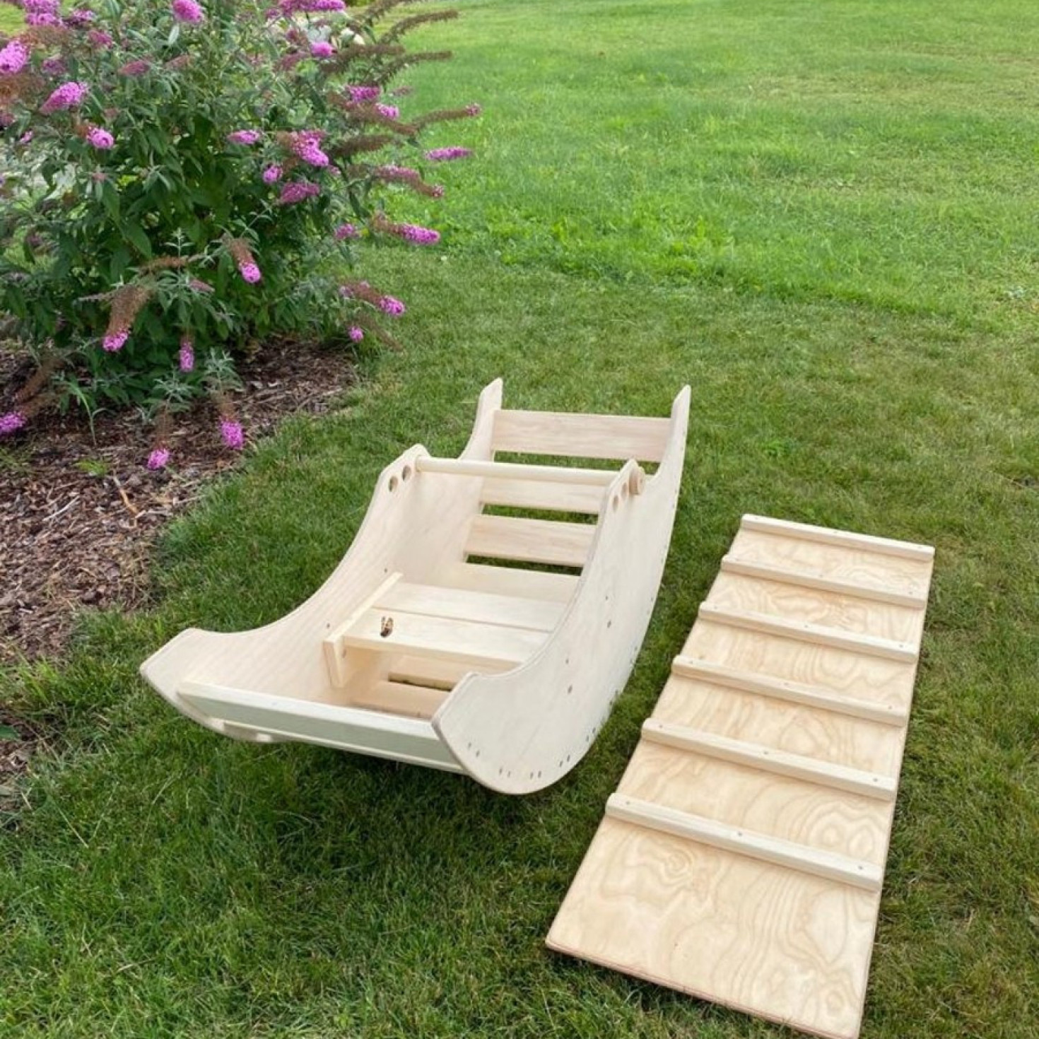 A ladder board for a wooden rocker toy