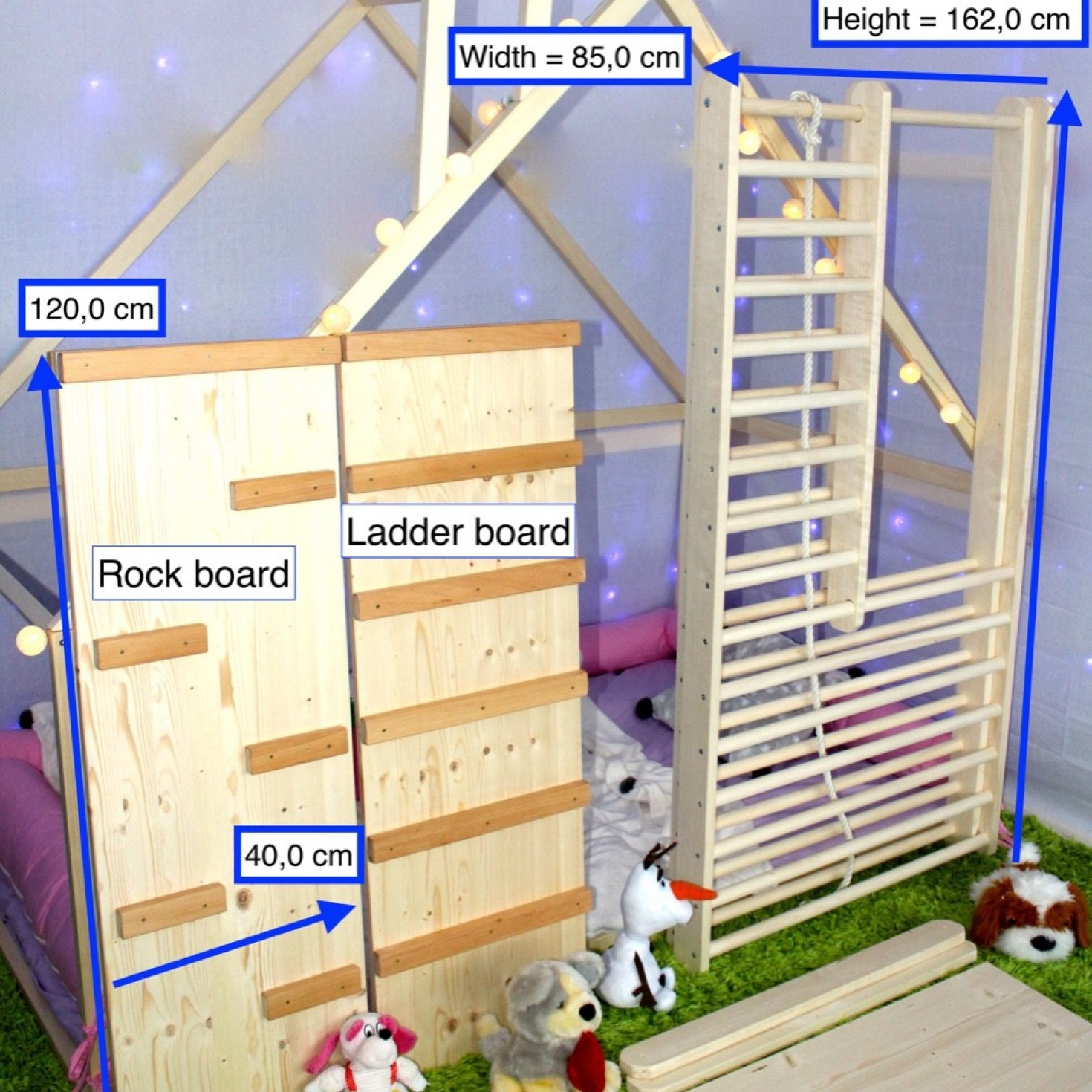 A climbing ladder for toddlers in a disassembled form
