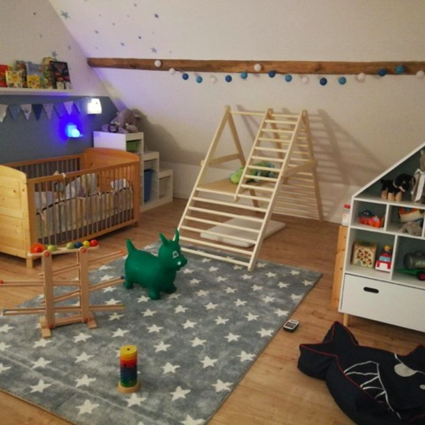 A climbing ladder for toddlers located in a child's bedroom