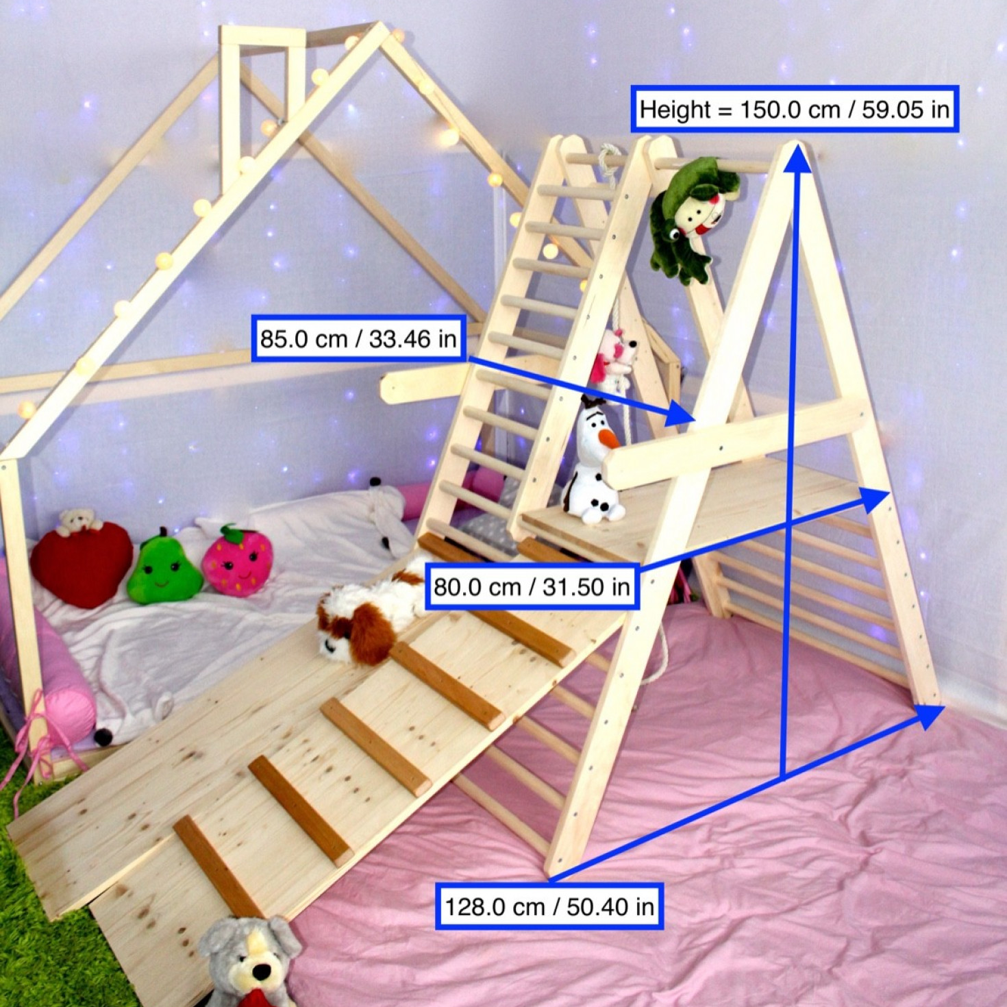 Dimensions of a climbing ladder and its accesories