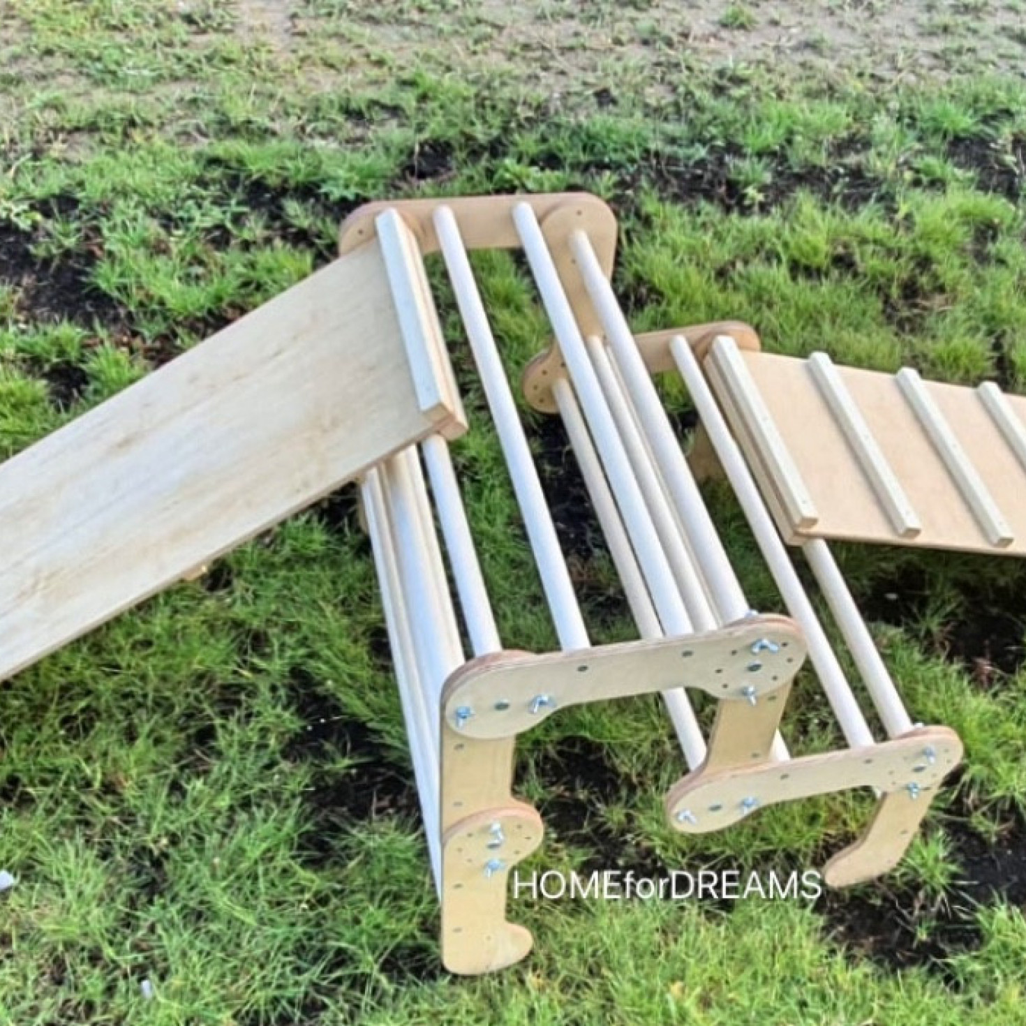 L-shaped wooden climber with ladder board and slide